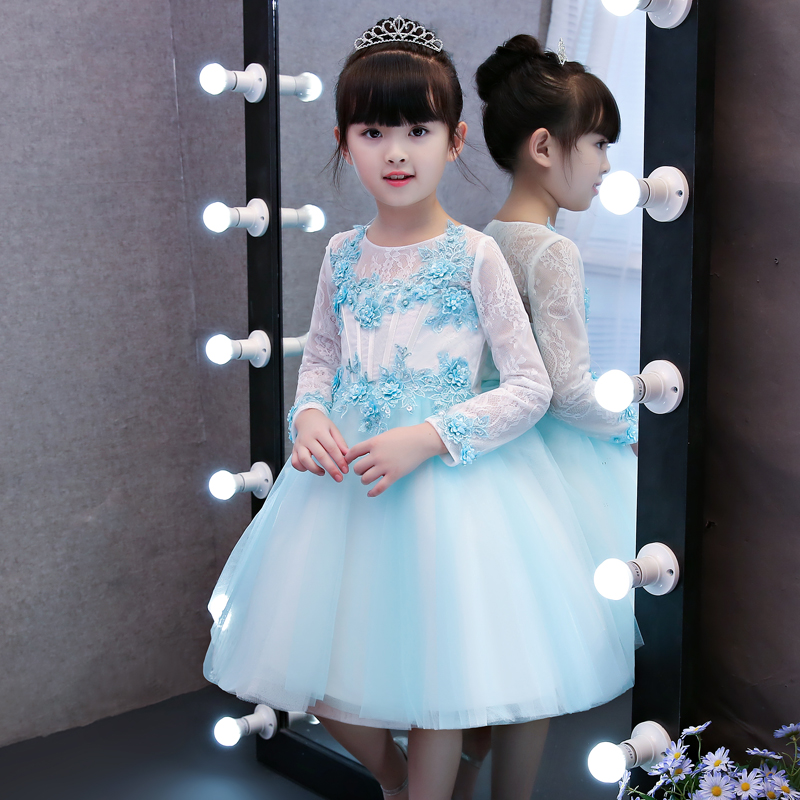 Children Girls Luxury Elegant Pink Blue Color Birthday Wedding Formal Party Princess Lace Dress Babies Ball Gown Tutu Mesh Dress elegant children girls lace princess birthday wedding party pink dresses kids babies clothing costume piano host tutu mesh dress
