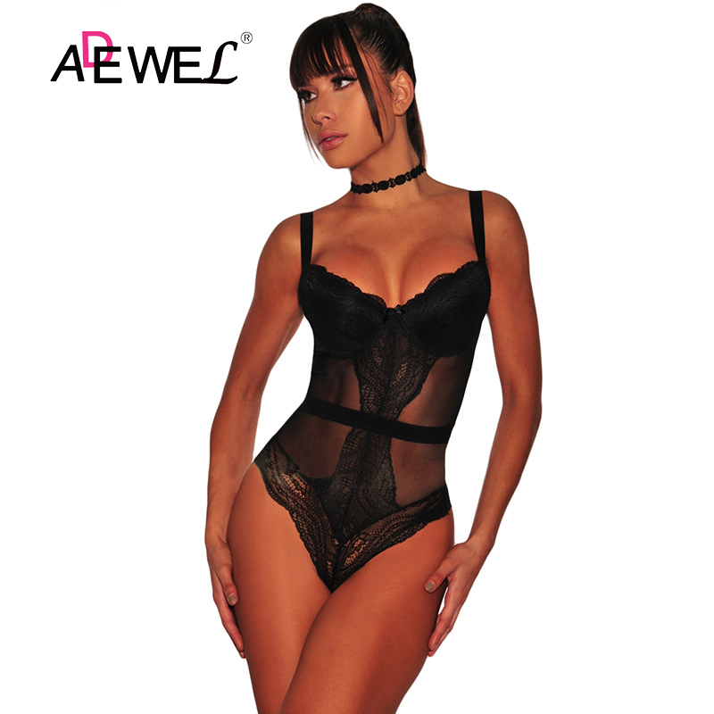 ADEWEL Sexy Black Lace Bodysuit Women Sleeveless Mesh Sheer Jumpsuit Rompers Skinny Lace Playsuits Overalls Macacao Feminino Top