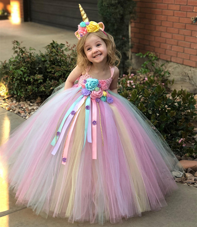 Girls Pastel Unicorn Flower Tutu Dress Kids Crochet Tulle Strap Dress Ball Gown With Daisy Ribbons Children Party Costume Dress