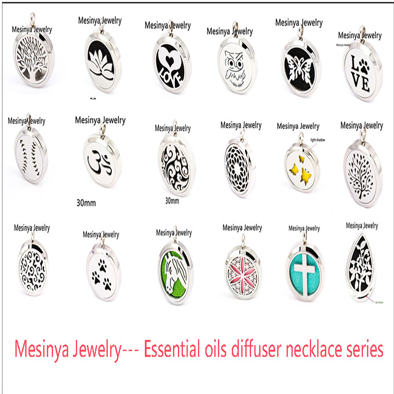 10pcs mesinya new series (30mm) Aromatherapy / Essential Oil 316L S. Steel Perfume Diffuse Lockets Necklace free felt pads