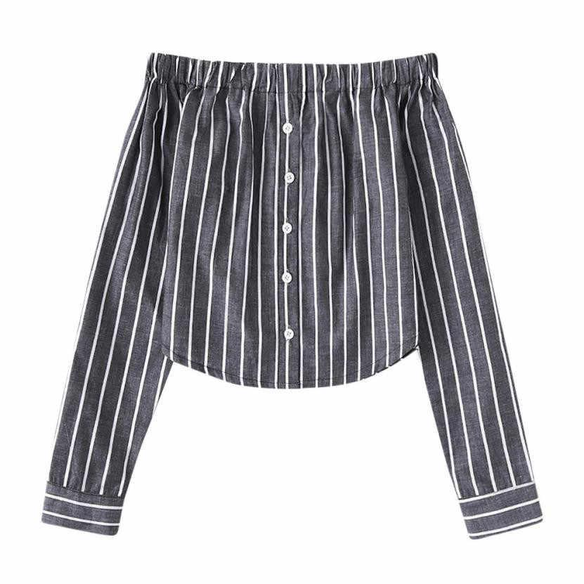 Feitong 2018 nueva moda t camisa mujeres botón rayas espalda hombro t camisa de manga larga de las mujeres de moda camisas