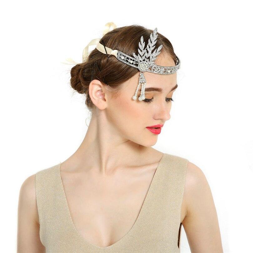 Nouveau mariage de mariée grande Gatsby Charleston 1920 s Vintage perles casque bandeau perle couronne chef
