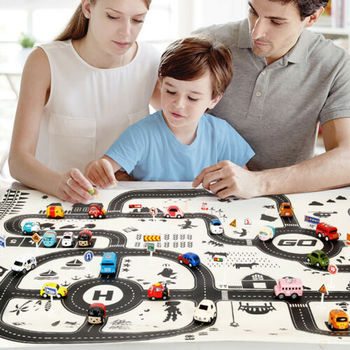 2019 Printing Rug Baby Urban Road System Traffic Car Play Mat Activity Crawling Pad Kids Girl Boy Multicolour Rug Boy Toy Gift image