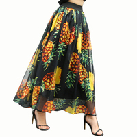 12 OAKS OF KATY Summer Women Freash Pineapple Fruit Digital Print Elastic Waist Elegant Big Bottom