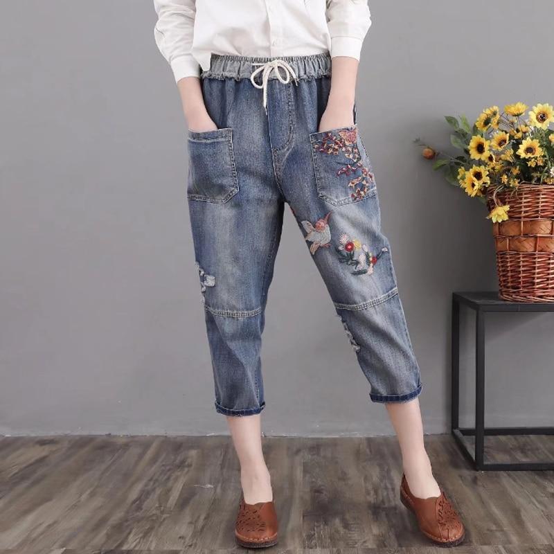 Vintage Harem Denim Pants Women 2019 New Floral Embroidery Trousers Elastic High Waist Vintage Female Capris Jeans Plus Size 3XL
