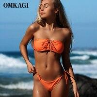 OMKAGI Brand Solid Bikinis Set Sexy Swimwear Swimsuit Women Off Shoulder Push Up Bathing Suit Bikini