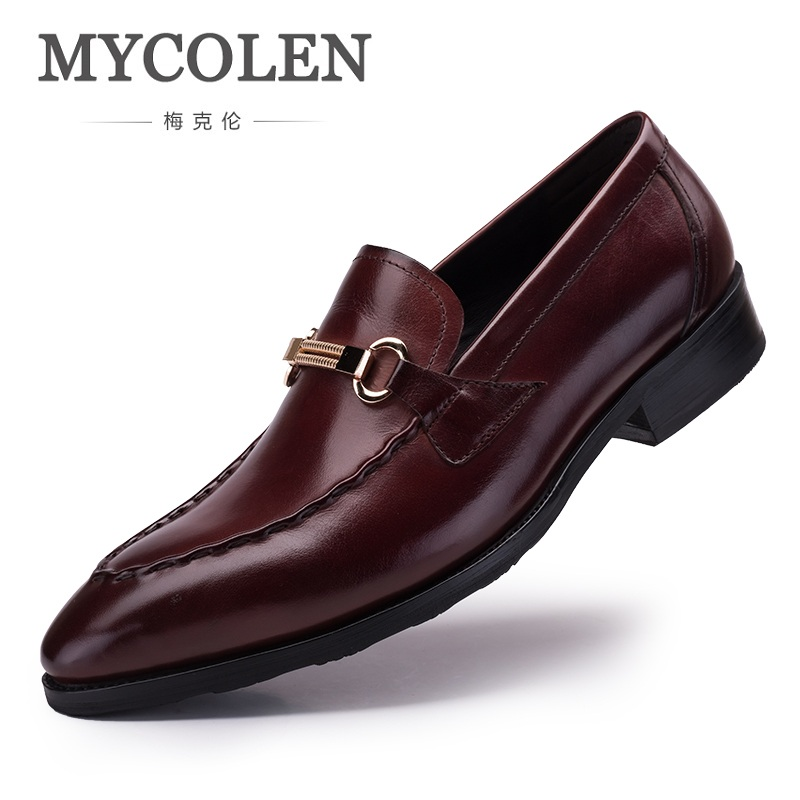 MYCOLEN Trend Genuine Leather Men Shoes Business Formal Comfortable Slip On Dress Shoes Men Wedding Party Sapato Masculino 2016 new arrival top quality men s slip on basic oxfords real cowhide leather formal wedding dress shoes men sapato masculino 46