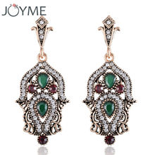 Joyme New Luxury Vintage Earrings For Woman Bride Bridesmaid Weddings Pendant Drop Turkish India Canada Earrings(China)