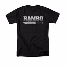 Rambo Movie First Blood Knife Logo Licensed Adult Shirt men black tshirt summer fashion male tee-shirt cotton tops sbz5382(China)