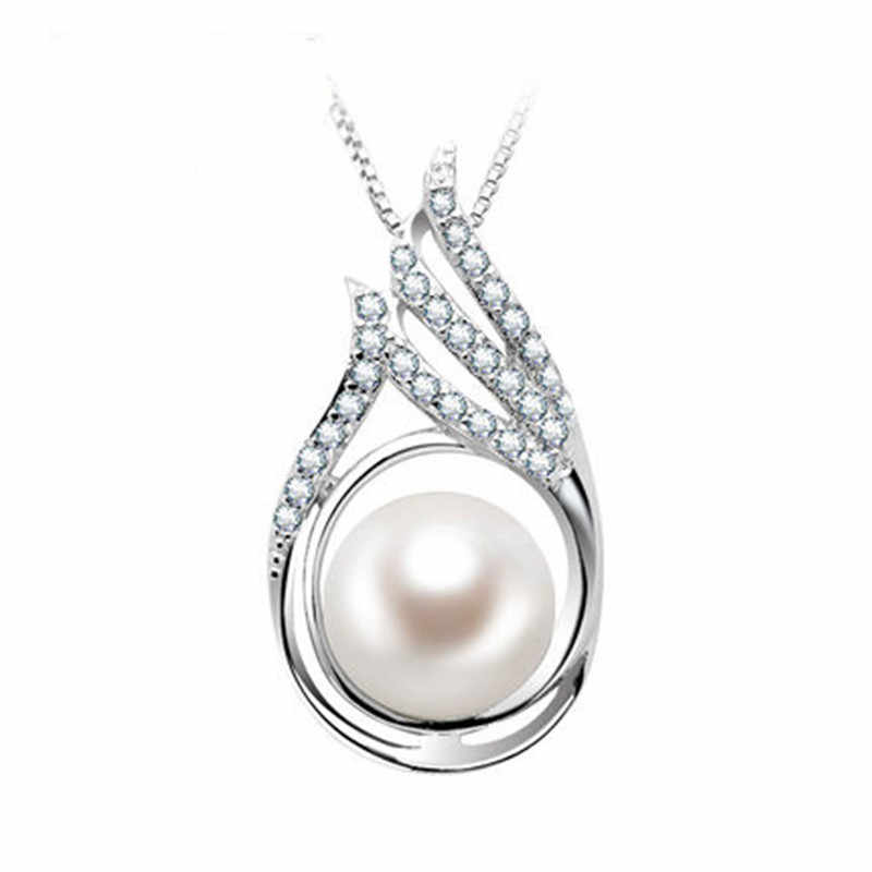 RUNZHUQIYUAN 2017 100% natural freshwater pearl Pendant charm necklace 9-10mm big pearl 925 Sterling Silver Jewelry For Women
