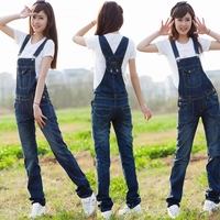 2016 Spring And Summer Brand Casual Denim Suspenders Trousers Female Girls Women Slim Plus Size Jeans