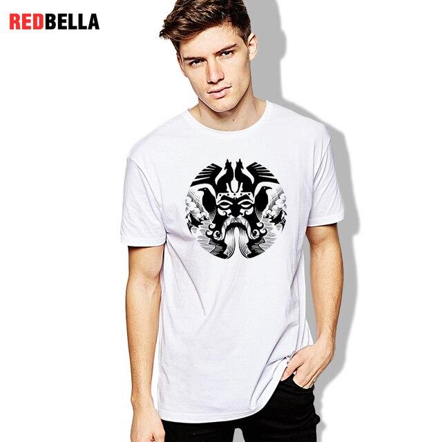 REDBELLA 2018 New Men Tees Odin Vikings Valhalla Asgardian Nordic Printed Cool Man T-shirts Shapes Magical Punk Clothes Hot 1