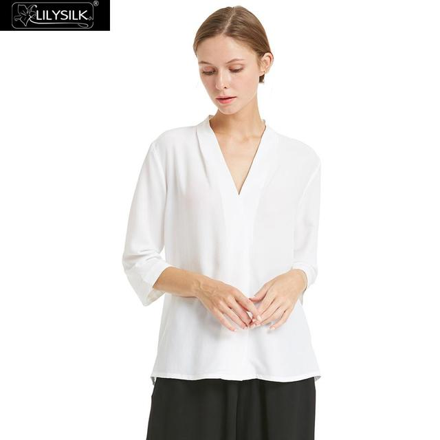 acbd2798db085 LILYSILK Shirts Blouse Women Silk 18mm Relaxed Fit Stand Collar 100% Crepe  de chine Lightweight Wrinkle-resistant Free Shipping