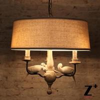LED Pendant Light Iron RH Country Style Dove Beige Bird Iron Lamp Lien Vintage Retro Lamp