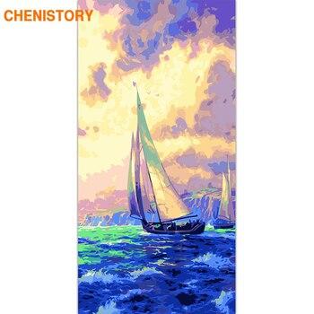 CHENISTORY ขนาดใหญ่กรอบขนาด 60x120 ซม. ภาพวาด DIY เรือใบเรือ Seascape ภาพวาดผ้าใบตกแต่งห้อง