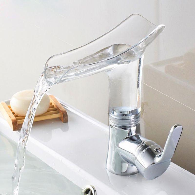 Élégant luxueux robinet Transparent pour cuisine salle de bains cascade robinet haute qualité art