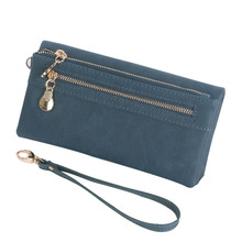Women Wallets Leather Scrub Long Wristlet Phone Card Holder Coin Dollar Price Female 2017 High Quality Clutch Double Zip Pocket недорго, оригинальная цена