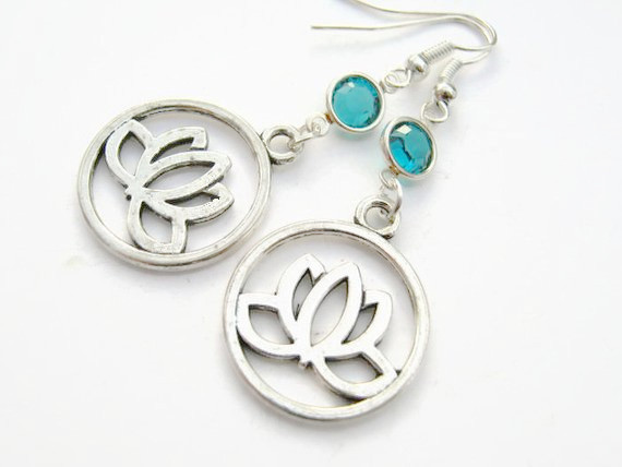 Silver Plated drop EARRING Butterflies and Lotus Charms Unusual Gift