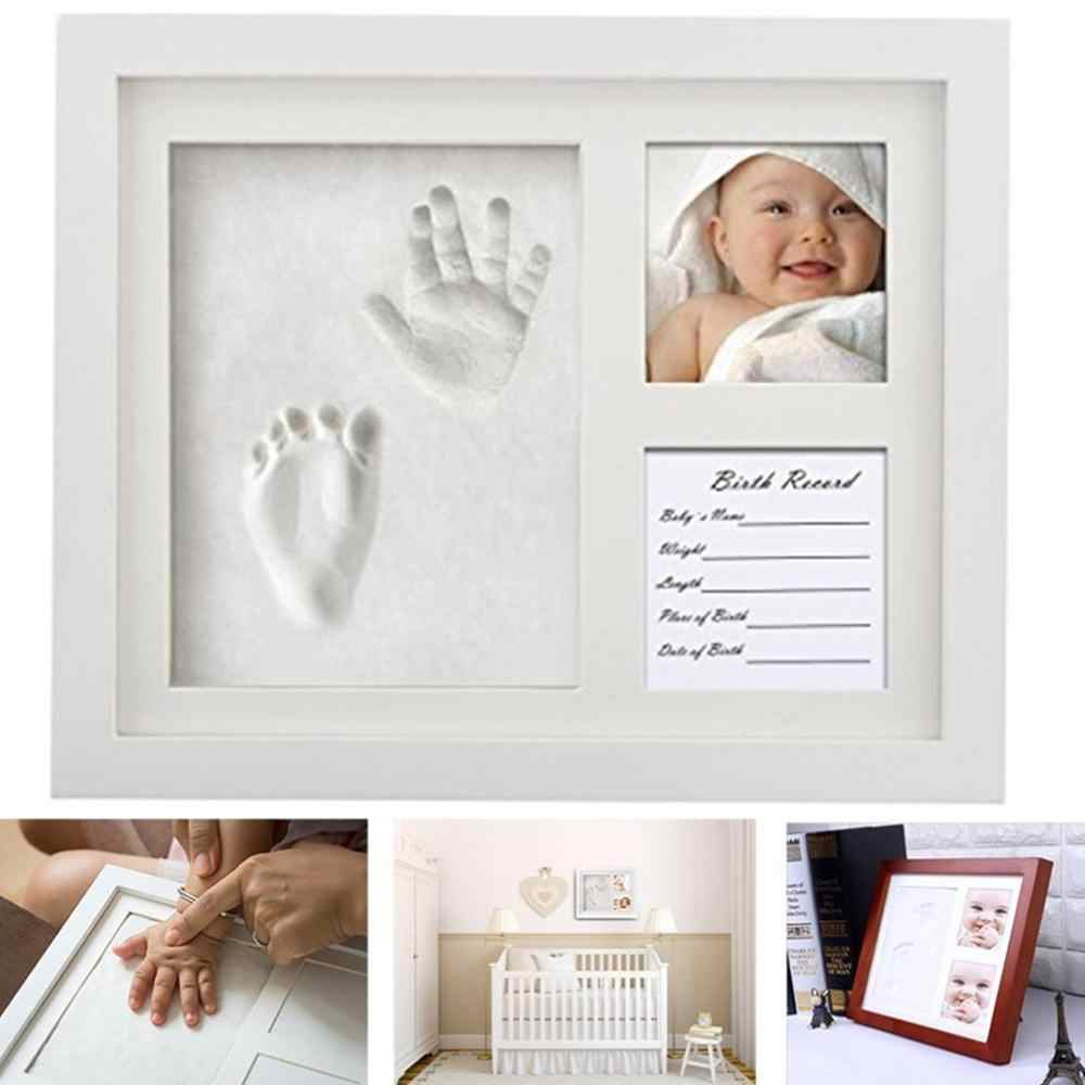 3 part Wooden Baby Care Non-Toxic Baby Photo frame DIY Handprint Footprint Imprint Kit Baby Souvenirs Casting Print Newborn