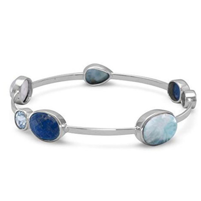 Natural Larimar Fine Women Jewelry High Quality Bracelet Bangle 100 925 Sterling Silver