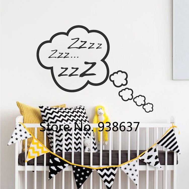 Snoozing Cloud Bedroom Decals Funnyl Nursery Wall Stickers Home Decor Kids Room Creative Wall Decor Cute Clouds Wall Decal ZB032