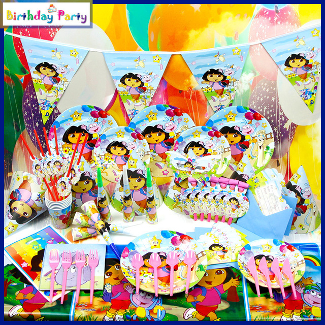 84pcs Children S Birthday Party Supplies Series Of Dora Girl Party