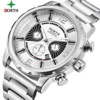 2018 New Men Watch NORTH Top Brand Luxury Chronograph Waterproof Stainless Steel Military Quartz Men's Watch Relogio Masculino