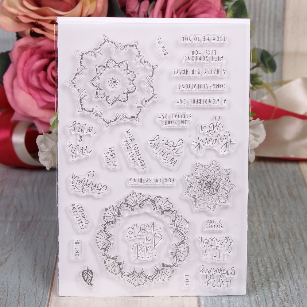 Rubber Silicone Clear Stamps for Scrapbooking Tampons Transparents Seal Background Stamp Card Making Diy Flower Text