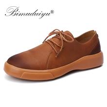 BIMUDUIYU Spring Autumn Men Shoes Designer Breathable Casual Leather Shoes Man Hot Sale Platform Leather Sneakers Plus Size 47