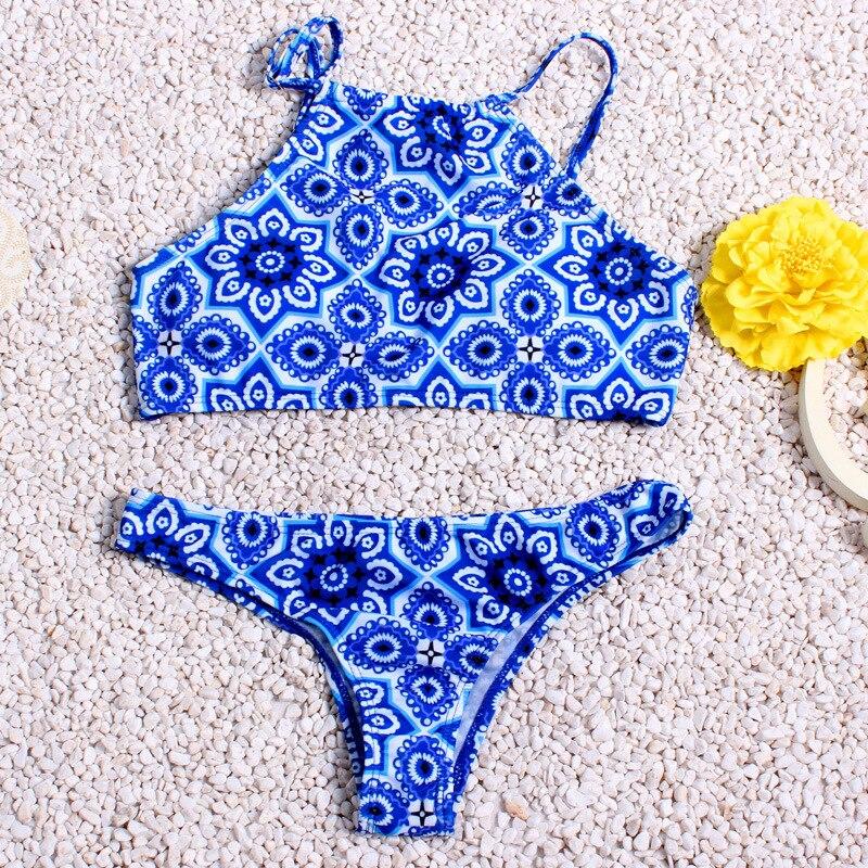 2016 femmes colorant couleur imprimer bikini ensembles sexy ct cravate maillots de bain halter crop - Colorant Bain