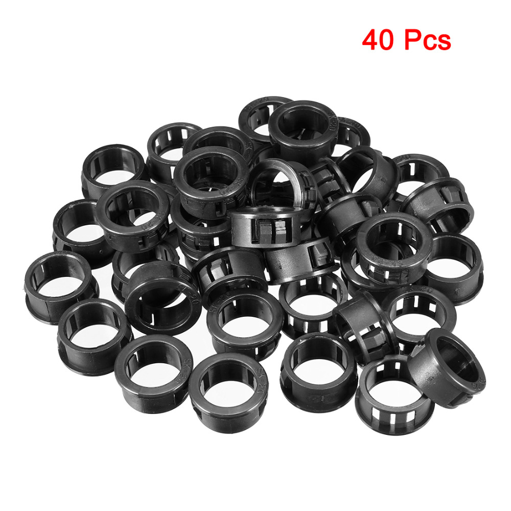 20pcs 10mm Mounted Dia Snap in Cable Bushing Grommet Protector Black