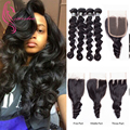 Peruvian Bele Virgin Hair With Closure,Ali Annabelle Hair 4*4 Closure with Loose Wave Ishow Hair 4 Bundles,Peruvian Loose Wave
