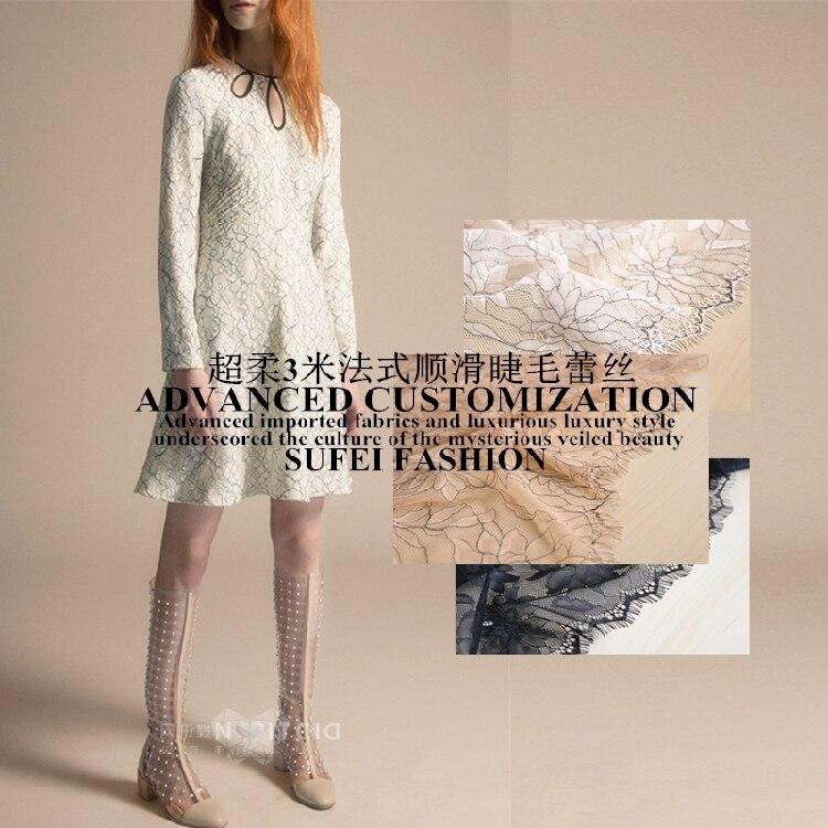 300*150 см ресницы кружева мягкий абрикосовый белый черный платье одежда куртка ткань S231