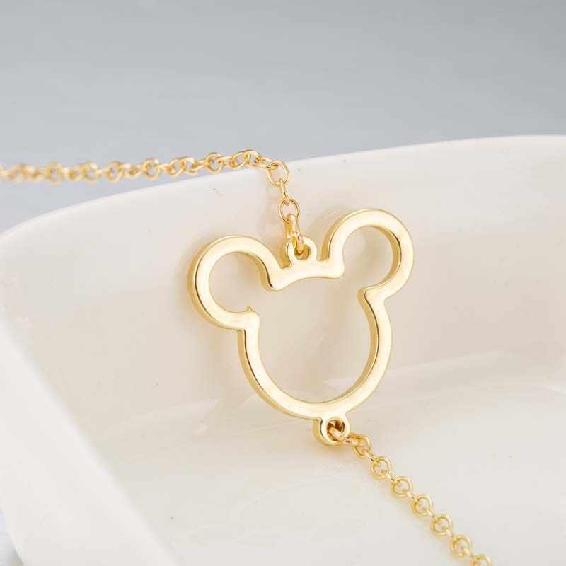 Yiustar mysz zwierząt Charms Mickey bransoletki i Bangles kobiety biżuteria ze stali nierdzewnej Cartoon Mouse prezent na Boże Narodzenie bijoux femme