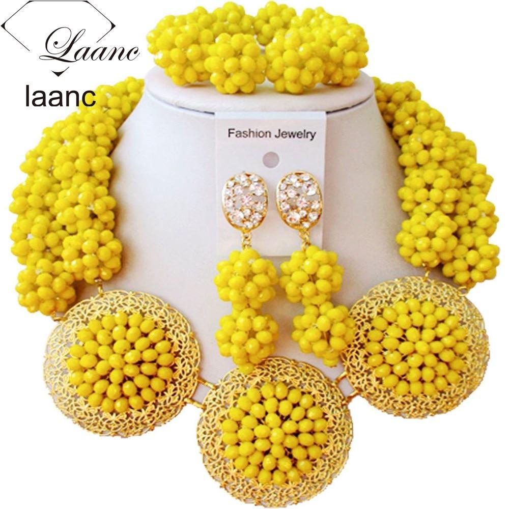 Luxury Opaque Yellow Crystal Ball women necklaces costume jewelry nigerian wedding african beads jewelry set ABC864Luxury Opaque Yellow Crystal Ball women necklaces costume jewelry nigerian wedding african beads jewelry set ABC864