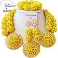 Opaco Amarillo Bola de Cristal de lujo mujeres collares bisutería boda nigeriano beads africanos joyería conjunto ABC864