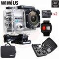 Wimius q3 câmera esporte de ação 2.0 polegada 4 k full hd 16mp ir À Prova D' Água 40 M Pro Kit de Acessórios + 2 Baterias + 2.4G Controle Remoto controle
