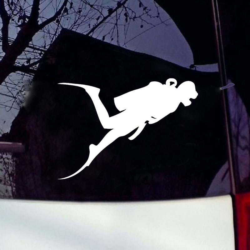 Hot Sale Car Stying Scuba Diving Vinyl Car Stickers And Decals Diver Snorkling Suit Boat Car Body Rear Window Car Sticker Jdm in Car Stickers from Automobiles Motorcycles