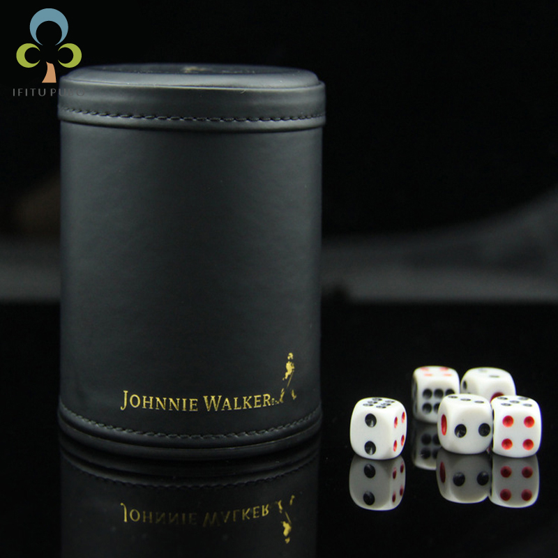 KTV Bar Black Silencing Leather Gambling Casino Dice Cup Set with 6pcs 12mm dices WYQ цена 2017