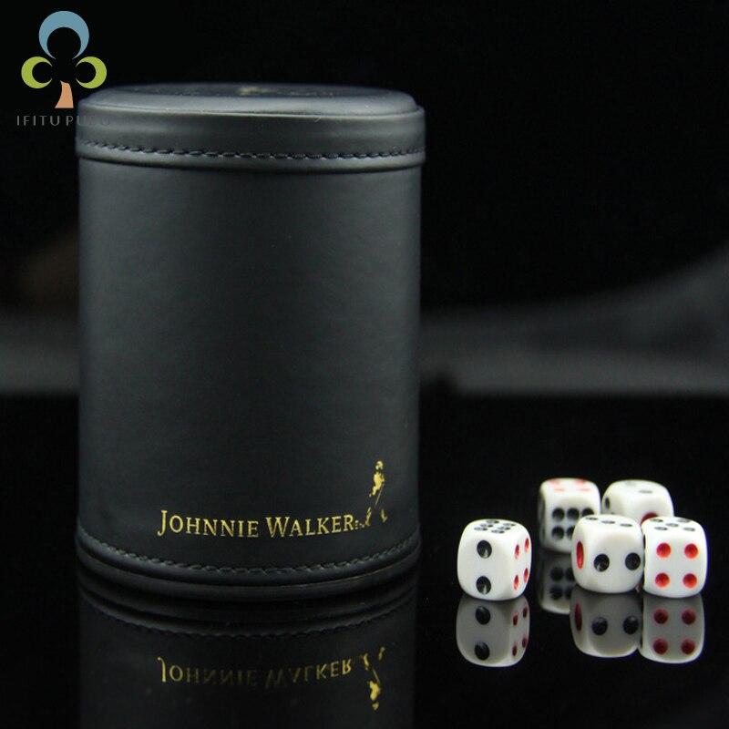 KTV Bar Noir Faire Taire En Cuir Jeu Casino Dice Cup Set avec 6 pcs 12mm dés WYQ