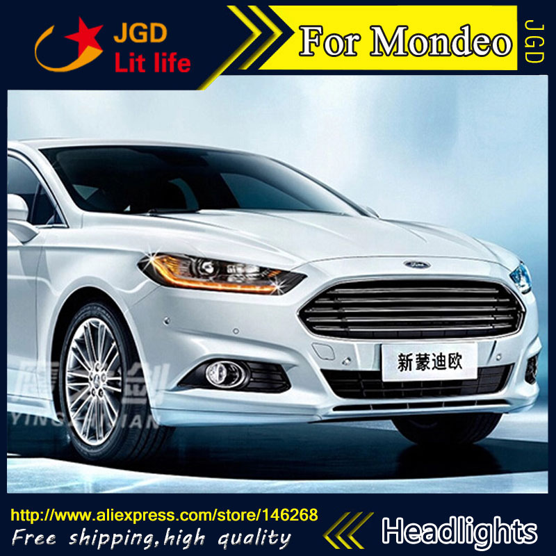 Free shipping ! car styling led hid rio 2013-2015 led mondeo headlights head lamp case for ford monde