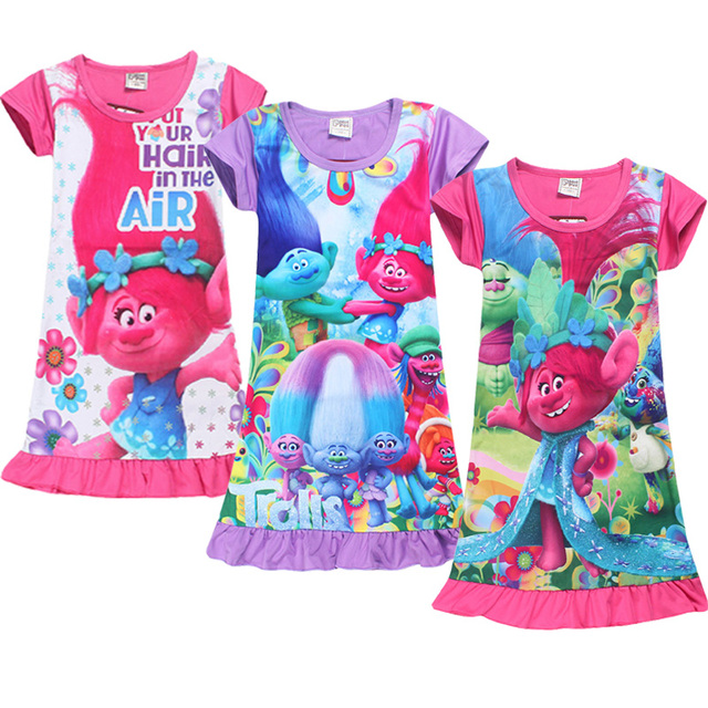 Girls Cartoon Sleepwear girls in long nightdress digital printing ...
