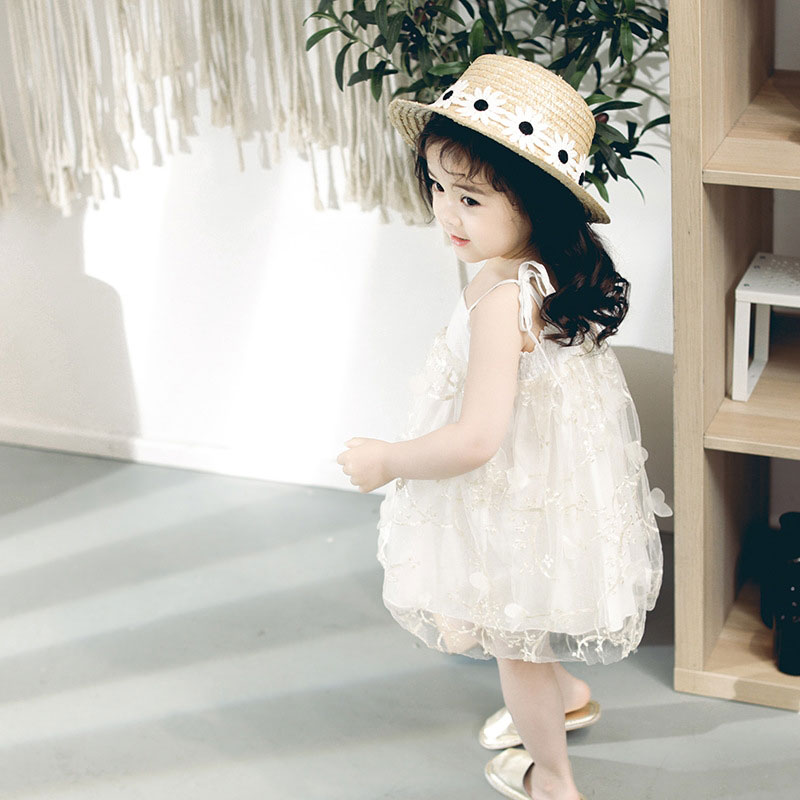 2018 summer elegant newborn white angle baby girl dress Solid princess ruffles infant we ...