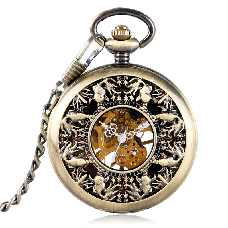 Vintage Hollow Fish Bronze Steampunk Pocket Watch Mechanical Hand Wind Skeleton Fob Clock Men Women Gift With Chain
