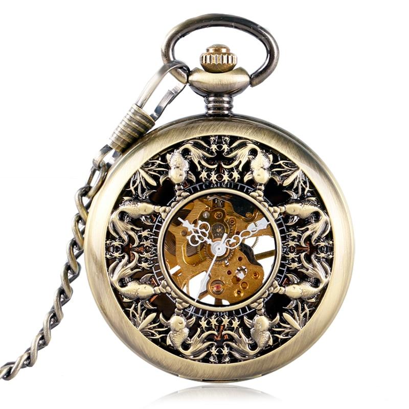 Vintage Hollow Fish Bronze Steampunk Pocket Watch Mechanical Hand Wind Skeleton Fob Clock Men Women Gift With Chain