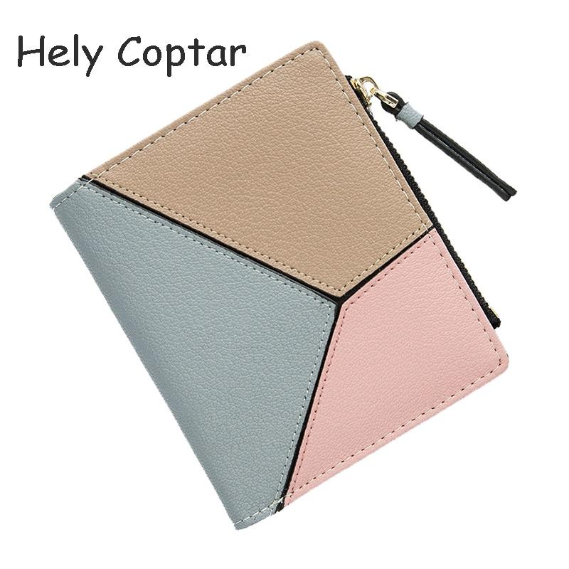 [Hely coptar] 100% Пояса из натуральной кожи Геометрическая Лоскутная Для женщин короткие бумажник Fahion дизайнер милый розовый для девочки Стандарт...