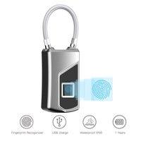High speed Electronic Fingerprint Padlock Mini Waterproof Keyless cabinet bag Biometric smart intelligent security padlock