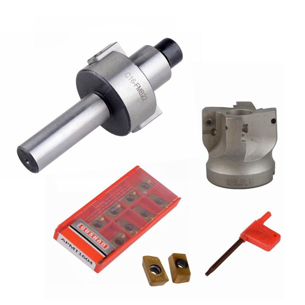 C16 FMB22 + 400R rechten winkel schulter Gesicht Mühle Cutter 50mm + 10 stücke APMT1604 Hartmetall Einsätze mit Schlüssel für Fräsen Werkzeug-in Werkzeughalter aus Werkzeug bei AliExpress - 11.11_Doppel-11Tag der Singles 1