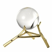 Homestia Crystal Ball Brass Stand Tabletop Decor Centerpiece Decorative Ball for Console Table, Desk, Living Room 4