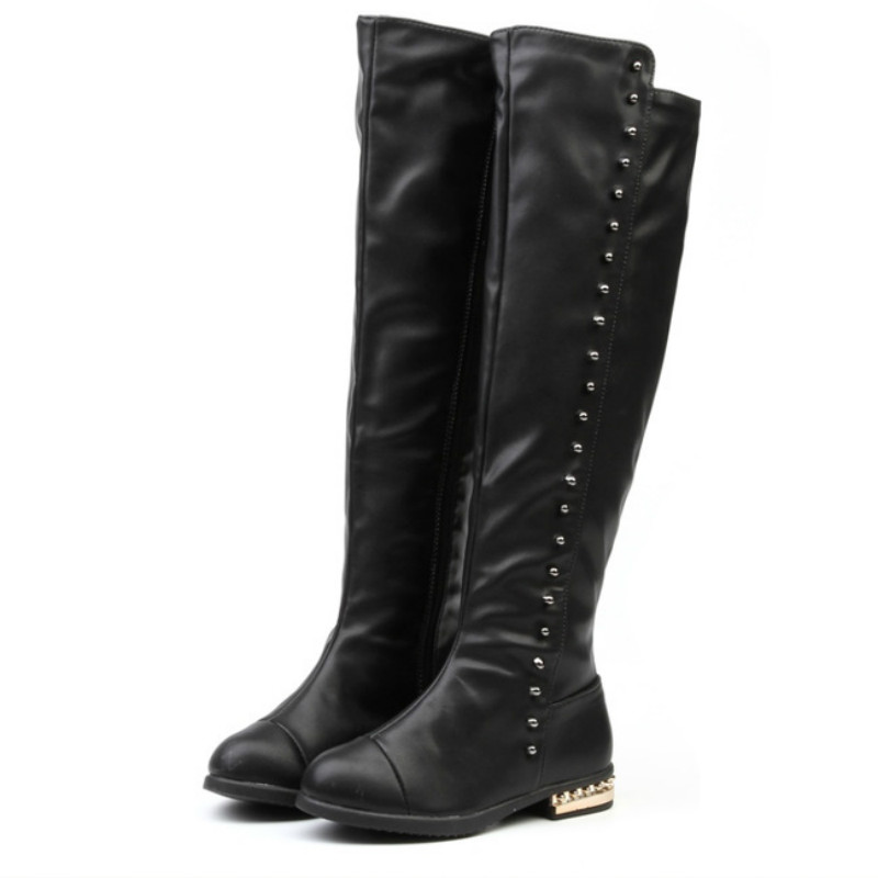 Princess High Boots Leather Big Girls Black Boots Over The Knee High Girl Botas With -3003